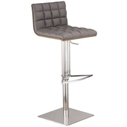 Armen Living Oslo Adjustable Stainless Steel Swivel Bar Stool in Gray