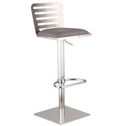 Armen Living Delmar Adjustable Steel Swivel Bar Stool in Gray