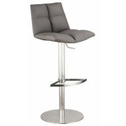 Armen Living Roma Adjustable Stainless Steel Swivel Bar Stool in Gray