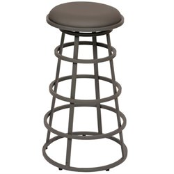 Armen Living Ringo Faux Leather Metal Counter Stool in Gray