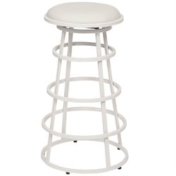 Armen Living Ringo Faux Leather Metal Counter Stool in White