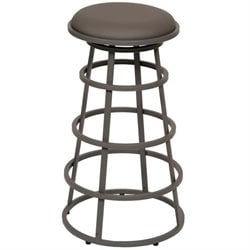 Armen Living Ringo Faux Leather Metal Bar Stool in Gray