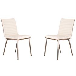 Armen Living Cafe Faux Leather Steel Dining Chair in White (Set of 2)