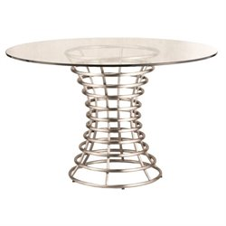 Armen Living Ibiza Glass Top Round Dining Table in Stainless Steel