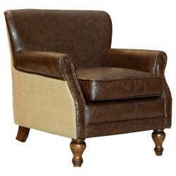 Armen Living Leather Accent Chair in Brown