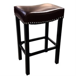 Armen Living Tudor Nailhead Trim Leather Counter Stool in Brown
