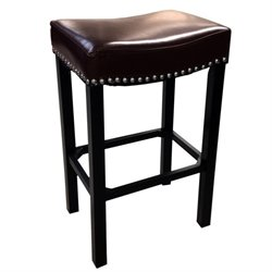 Armen Living Tudor Nailhead Trim Leather Bar Stool in Brown