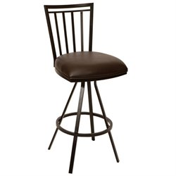 Armen Living Aidan Faux Leather Metal Swivel Counter Stool in Coffee