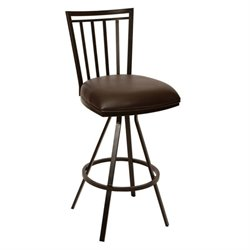 Armen Living Aidan Faux Leather Metal Swivel Bar Stool in Coffee