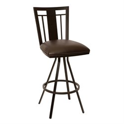 Armen Living Cleo Faux Leather Metal Swivel Counter Stool in Coffee