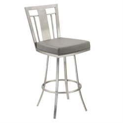 Armen Living Cleo Faux Leather Swivel Counter Stool in Gray