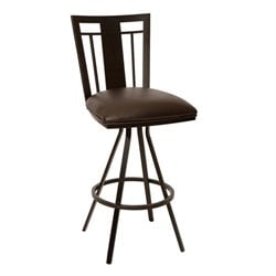 Armen Living Cleo Faux Leather Metal Swivel Bar Stool in Coffee