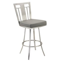 Armen Living Cleo Faux Leather Swivel Bar Stool in Gray