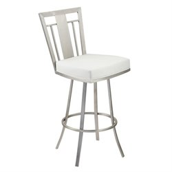 Armen Living Cleo Faux Leather Swivel Bar Stool in White