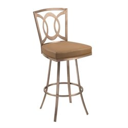 Armen Living Drake Faux Leather Swivel Counter Stool in Gold
