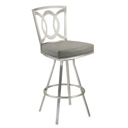 Armen Living Drake Faux Leather Swivel Bar Stool in Gray