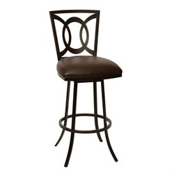 Armen Living Drake Faux Leather Metal Swivel Bar Stool in Coffee