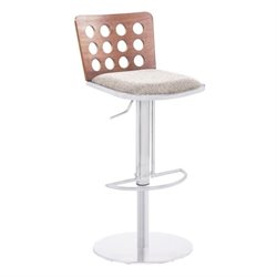 Armen Living Elton Faux Leather Stainless Steel Bar Stool in Brown