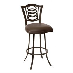 Armen Living Essex Faux Leather Swivel Counter Stool in Coffee