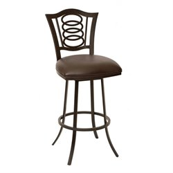 Armen Living Essex Faux Leather Swivel Bar Stool in Coffee