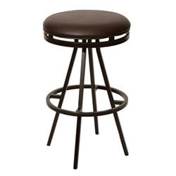 Armen Living Fiji Faux Leather Metal Swivel Counter Stool in Coffee