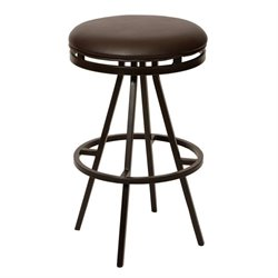 Armen Living Fiji Faux Leather Metal Swivel Bar Stool in Coffee