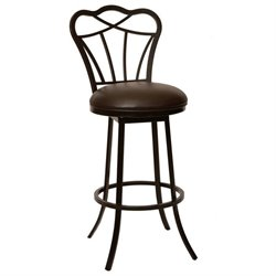 Armen Living Galvin Faux Leather Metal Swivel Counter Stool in Coffee