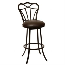 Armen Living Galvin Faux Leather Metal Swivel Bar Stool in Coffee