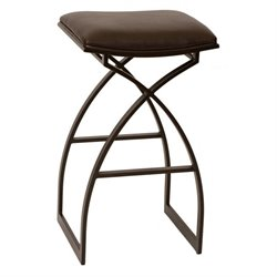 Armen Living Harper Faux Leather Metal Counter Stool in Coffee