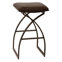 Armen Living Harper Faux Leather Metal Bar Stool in Coffee