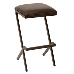 Armen Living Sasha Faux Leather Metal Counter Stool in Coffee
