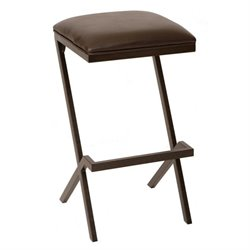 Armen Living Sasha Faux Leather Metal Bar Stool in Coffee