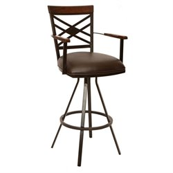 Armen Living Zoe Faux Leather Swivel Counter Stool with Arms in Coffee
