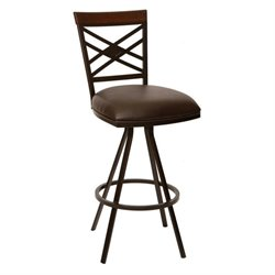 Armen Living Zoe Faux Leather Swivel Counter Stool in Coffee