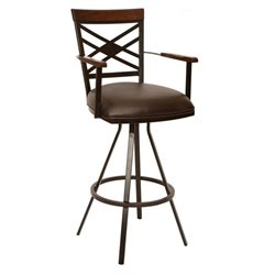 Armen Living Zoe Faux Leather Swivel Bar Stool with Arms in Coffee