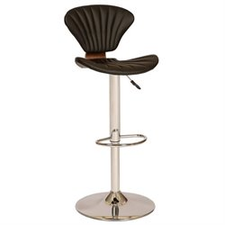 Armen Living Lisa Faux Leather Swivel Extra Tall Bar Stool in Black