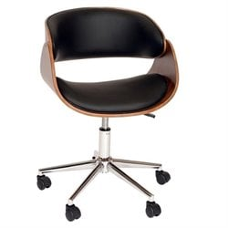 Armen Living Julian  Faux Leather Swivel Office Chair in Black