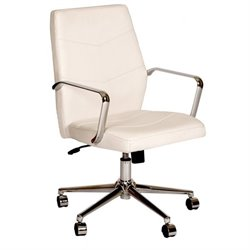 Armen Living Viken  Faux Leather Swivel Office Chair in White