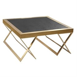 Armen Living Jasper Wood Square Coffee Table in Gold