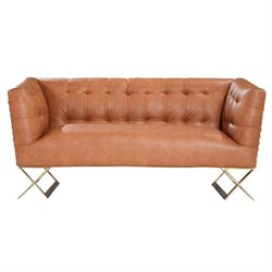 Armen Living Jasper Tufted Faux Leather Loveseat in Gold
