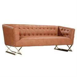 Armen Living Jasper Modern Sofa in Gold