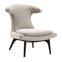 Armen Living Aria Fabric Wingback Accent Chair in Taupe