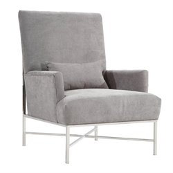 Armen Living York Fabric Accent Chair in Gray