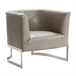 Armen Living Elite Leather Accent Chair in Smoke
