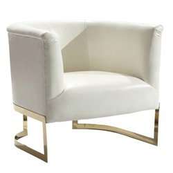 Armen Living Elite Leather Accent Chair in White