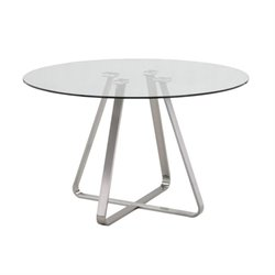 Armen Living Cameo Glass Top Round Dining Table in Stainless Steel