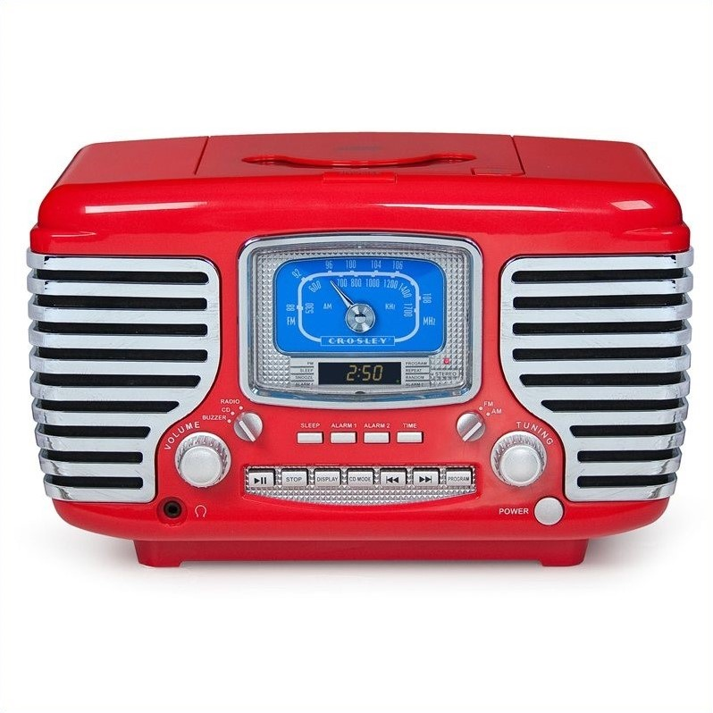 Corsair Alarm Clock Radio with CD Player in Red