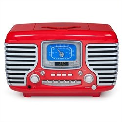 Crosley Radio Corsair Alarm Clock Radio with CD Player in Red