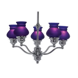Lite Source Susie 5 Light Chandelier in Chrome and Blue