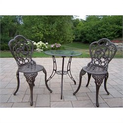 Oakland Living Hummingbird Cast Aluminium 3-Piece Bistro Set
